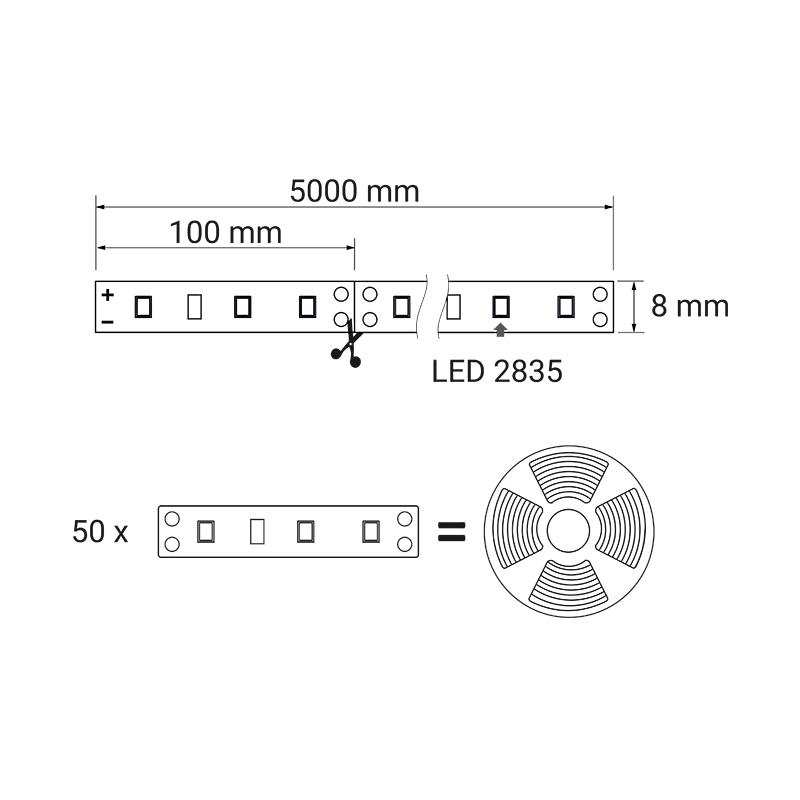 Taśma LED 30 LED IP20 rysunek techniczny