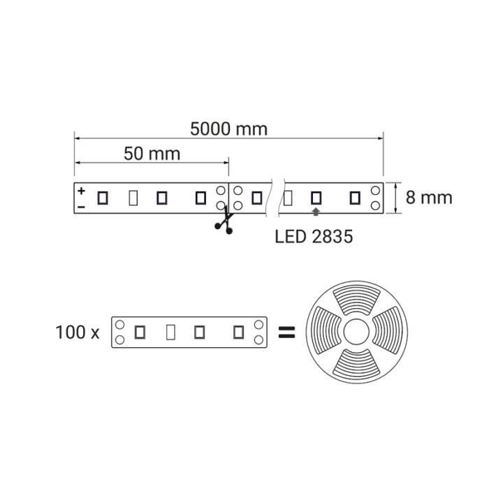 Taśma LED 60 LED IP20 - rysunek techniczny