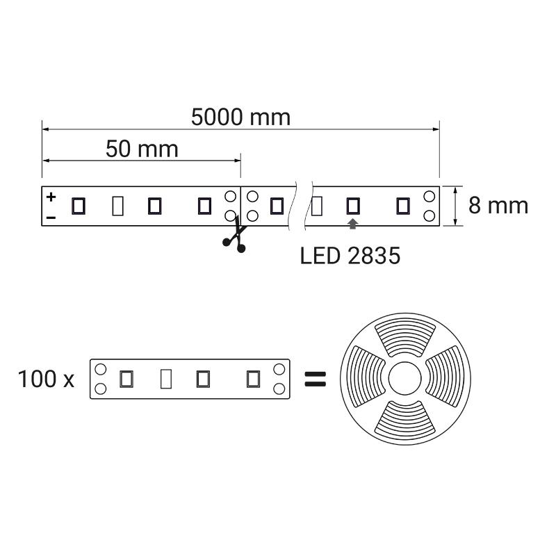 Taśma LED 60 LED IP45 taśma żelowana - rysunek techniczny