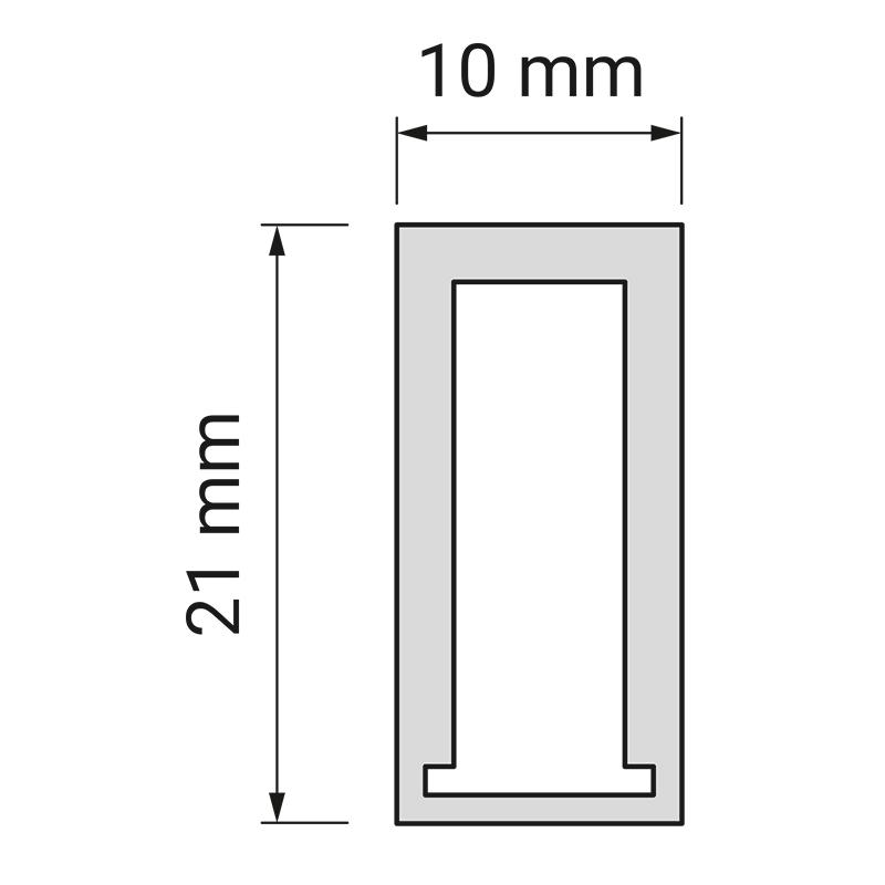 Profil trend 10 x 21 mm do oświetlenia led z tworzywa sztucznego. Rysunek techniczny