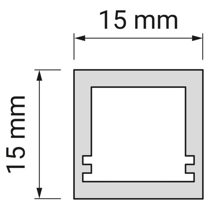Profil trend 15 x 15 mm do oświetlenia led z tworzywa sztucznego. rysunek techniczny