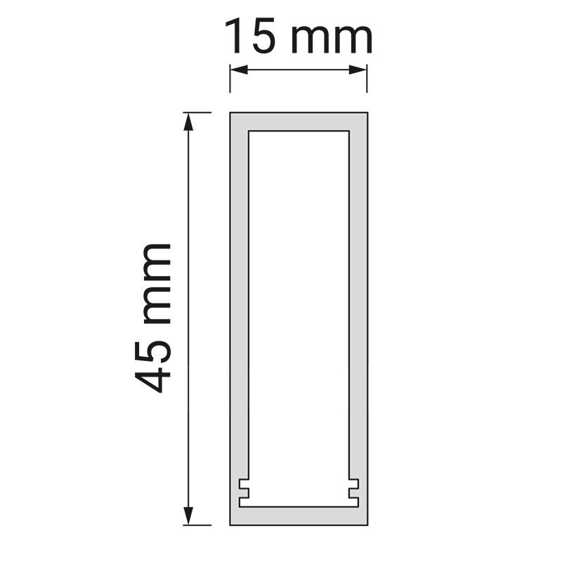 Profil trend 15 x 45 mm do oświetlenia led z tworzywa sztucznego - rysunek techniczny