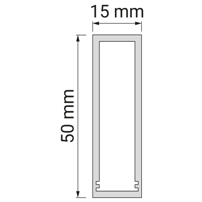 Profil trend 15 x 50 mm do oświetlenia led z tworzywa sztucznego. Rysunek techniczny.
