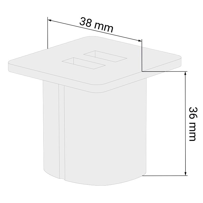 ładowarka USB do mebli do wpustu - kwadratowa
