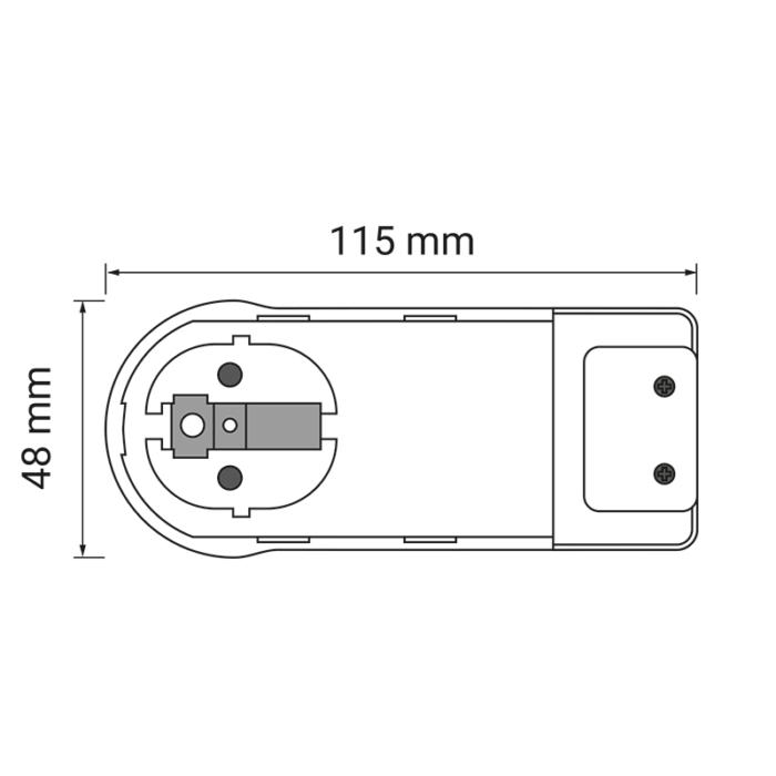 flat plug płaska wtyczka czarna biała 250 V AC 16 A - rysunek techniczny