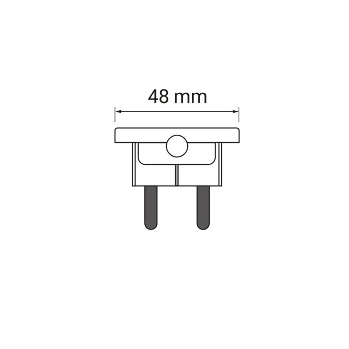 flat plug płaska wtyczka czarna biała 250 V AC 16 A rysunek techniczny