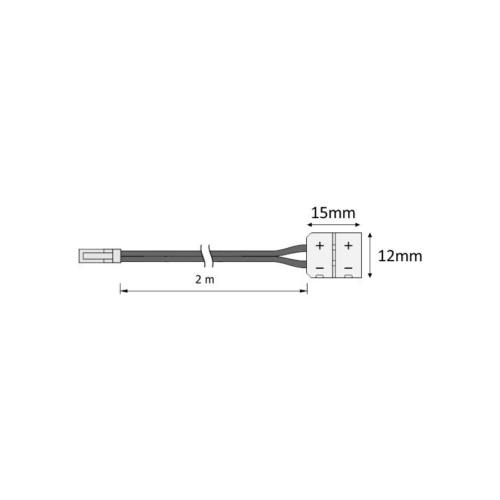 Przewód montażowy do taśm led 8 mm z wtyczką mini - rysunek techniczny