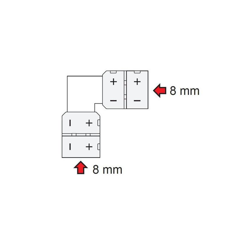 Złączka kątowa do taśm LED 8 mm - rysunek techniczny