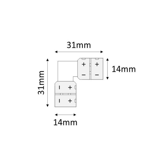 Złączka kątowa do taśm LED 10 mm - rysunek techniczny