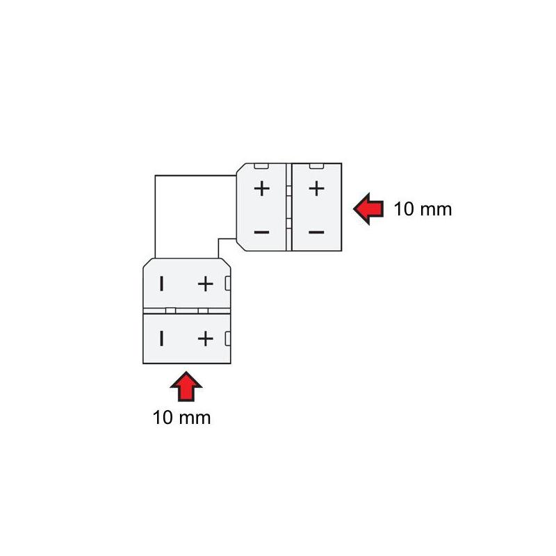 Złączka kątowa do taśm LED 10 mm
